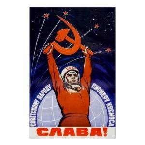 Fargesprakende propagandaplakat med Gagarin. første mennesket i rommet